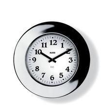 11 Momento. Alessi. Orologio da parete in acciaio inossidabile 18/10, lucido. Il grande orologio con la firma di Aldo Rossi replica in scala l'orologio da polso Momento.