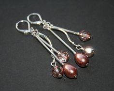beaded earrings rouge pink apollo copper coloured by koralikowyraj