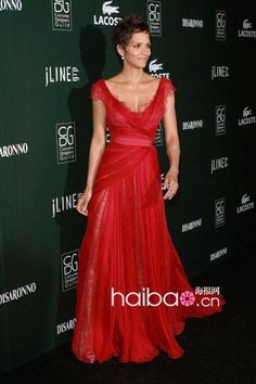 Halle Berry Oscar Celebrity Dresses Red Carpet Dresses Free Shipping China Custome Full Length Lace Chiffon A-line Red Illusion $146.00