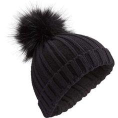 6a3836a7b2e Miss Selfridge Black Faux Fur Pom Pom Beanie Hat