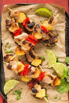 A recipe for sweet and spicy pineapple pork kebabs served on a bed of pineapple cilantro rice. Grilling Recipes, Pork Recipes, Cooking Recipes, Healthy Recipes, Skewer Recipes, Pork Kabobs, Kebabs, Skewers, Pork And Beef Recipe