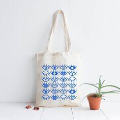 Tote bag cotton natural Eyes/ screen print by AntoninPlusMargaux