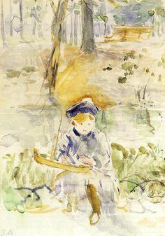 Berthe Morisot 1895 French Impressionist Painter Berthe Morisot painted boldly in a mans art world. French Impressionist Painters, Berthe Morisot, Art Français, Edouard Manet, Guache, Art Database, Art Graphique, French Art, Oeuvre D'art