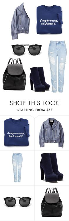 """""""Blue angel"""" by lauralouis ❤ liked on Polyvore featuring Acne Studios, Topshop, Casadei, Prada and Witchery"""