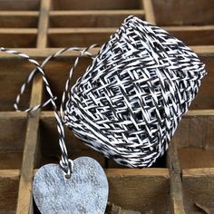 Black & White Bakers Twine. A paper version of the ever popular black & white Baker's twine but as a twisted cord for gift wrap, crafts, bunting and decorations all year round.