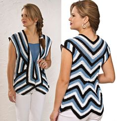 Striped and Sleeveless Crochet Cardigan, free graph