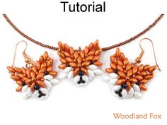 SuperDuo Beaded Red Fox Earrings Pendant Woodland Animals Two Hole Beads 3D Jewelry Making Pattern Tutorial by Simple Bead Patterns 04