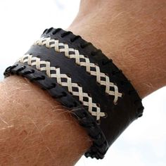 Men's Black Leather Cuff Bracelet