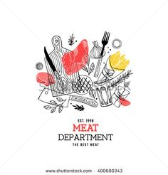Meat composition. Meat restaurant design template. Vector illustration