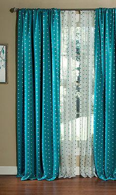 Aqua Polka Dot Blackout Window Curtain - Set of Two
