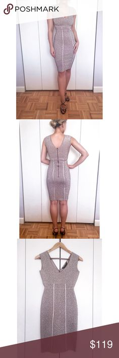 BCBGMAXAZRIA Ribel Sleeveless Bodycon Dress Elegant, form-fitting v-neck with a sexy v-back and exposed back zipper. Extremely sexy yet very classy + keeps everything in its place 👌🏻 BCBGMaxAzria Dresses Midi