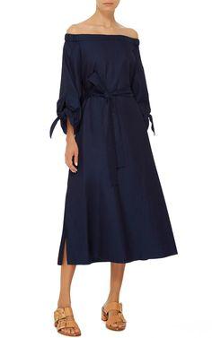 Off-the-Shoulder Denim Midi Dress  by TIBI Now Available on Moda Operandi