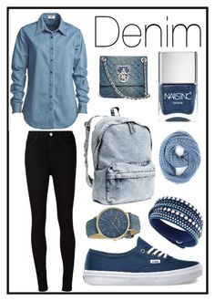"""""""#211 denim"""" by xjet1998x ❤ liked on Polyvore featuring Vale, AG Adriano Goldschmied, H&M, Nails Inc., Vans, GUESS, Paula Bianco, Swarovski and RumbaTime"""