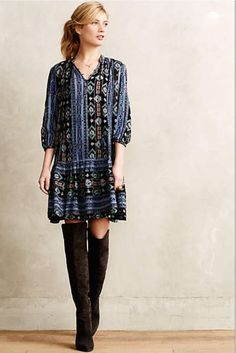 NWOT $148 Anthropolie Dress Holding Horses Winter Moon Tunic Dress ruffle hem L #HoldingHorses #dropwaistrufflehem #Casual