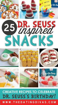 Seuss Crafts, Free Printables, Snacks TONS of Dr. Seuss snack and treat ideas! Can't wait to surprise my kids! Dr. Seuss, Dr Seuss Week, Dr Seuss Lorax, The Lorax, Groundhog Day, Dr Seuss Snacks, My Little Kids, Theodor Seuss Geisel, Creative Food