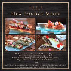 new for your tongue. your from this brand new menu Bali Restaurant, Restaurant Recipes, Yakitori, Organic Chicken, New Menu, Executive Chef, Bruschetta, Tapas, Lounge