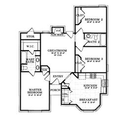 House Plan 93005 - Ranch, Victorian Style House Plan with 1125 Sq Ft, 3 Bed, 2 Bath Ranch House Plans, Country House Plans, Best House Plans, Small House Plans, House Floor Plans, Starter Home Plans, 1500 Sq Ft House, Cottage In The Woods, Ranch Style Homes