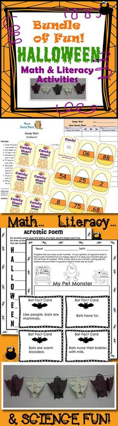 Love this!  Math & Literacy activities... Candy War math game, Halloween Acrostic Poem, Writing an Opinion Piece: My Pet Monster, Hanging bat facts class activity #commoncore