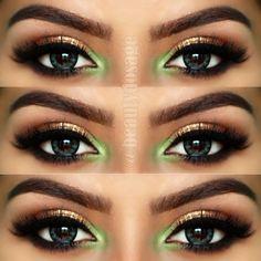 Make Up Maquiagem Olhos Eye Jeeshan Umar Green Verde Champagne