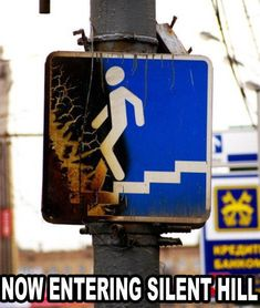 Now entering silent hill by serkan - A Member of the Internet's Largest Humor Community Silent Hill, Scary Movies, Horror Movies, Funny Horror, Funny Signs, Funny Memes, Funny Captions, Funny Quotes, Pyramid Head