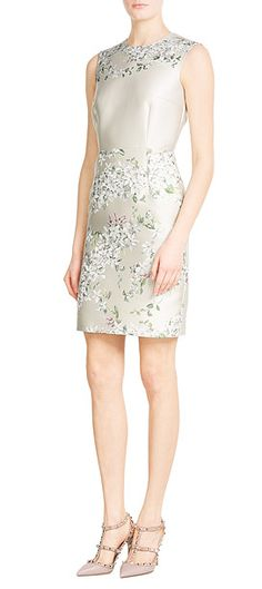 In a pale shade of champagne, this Giambattista Valli shift dress is detailed with a pretty floral jacquard design. Tailored and ladylike, we like it best with nude pumps #Stylebop