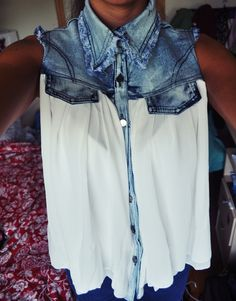 denim and chiffon shirt