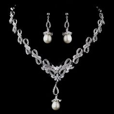 Stunning Pearl and CZ Wedding Jewelry Set