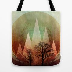 TREES under MAGIC MOUNTAINS I Tote Bag by Pia Schneider [atelier COLOUR-VISION]  #art #trees #marsala #nature #triangles #geometric #branches #abstract #landscape #surreal #piaschneider #ateliercolourvision #bag #totebag #womensaccessories