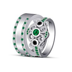 Men's & Women's 14k White Gold Over Sterling Silver Emerald Rings With Band  #adorablejewelry