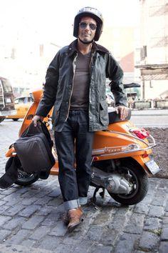 orange vespa and barbour jacket