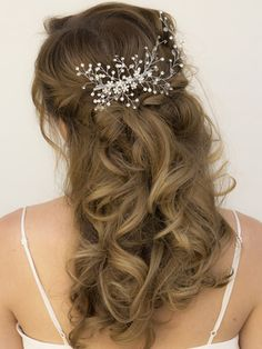 Rhinestone Bridal Vine Hair Comb in a Half Updo Bridal Hairstyle ~ Renee by Hair Comes the Bride