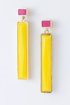 A lot of gold earrings aren't made from pure gold given that it can be quite soft and not really practical for day-to-day wear. In mot cases, other metals will have been blended with the gold in order to heighten the resilience, as well as lower the rate. Yellow Jewelry, Yellow Earrings, Cute Earrings, Gold Earrings, Pink Yellow, Pink And Green, Bright Yellow, Gems Jewelry, Jewelry Box