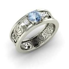 Rings - Feast - Aquamarine Ring in 14k White Gold with SI Diamond (0.66 ct.tw.)