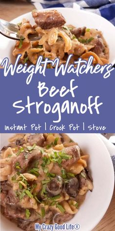 This healthy Weight Watchers Beef Stroganoff recipe is an easy weeknight dinner! This WW beef recipe has myWW points for Purple, Blue, and Green Plan! Weight Watchers Beef Stroganoff Recipe, Weight Watchers Casserole, Weight Watchers Meal Plans, Weight Watchers Diet, Weight Watcher Dinners, Weight Watchers Chicken, Crock Pot Beef Stroganoff, Healthy Beef Stroganoff, Ww Recipes
