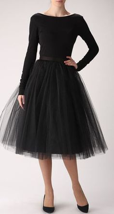 Black tulle skirt, Handmade long skirt, Handmade tutu skirt