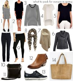 Looking for ideas for what to pack for Europe in spring? These tips for creating a capsule wardrobe that works for a mix of temperatures will help. Europe Travel Outfits, Packing For Europe, Travel Packing, Packing Lists, Paris Packing, Fall Travel Wardrobe, Travel Attire, Europe Europe, Europe Style