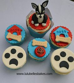 Boston Terrier dog themed cupcakes