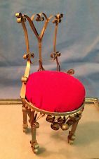 Vintage Handmade Ornate Chair Tin Can Primitive Folk Art Pin Cushion $15.00
