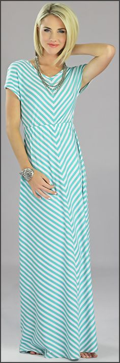 Mint Chevron modest maxi dress from Mika Rose - Would be cute with a belt