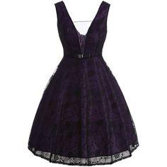 See Thru Bowknot Vintage Lace Dress (1,625 INR) ❤ liked on Polyvore featuring dresses, purple vintage dress, vintage dresses, purple lace dress, vintage cocktail dresses and purple dresses