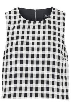 Textured Gingham Shell Top