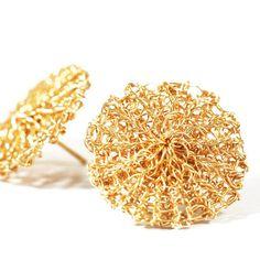 Stud Earrings – Gold handmade wire crochet round stud earrings – a unique product by SoSy on DaWanda