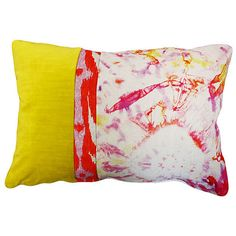 Kim Salmela Sierre 14x20 Linen Pillow Yellow Decorative Pillows ($109) ❤ liked on Polyvore featuring home, home decor, throw pillows, pillow, stripe throw pillows, ikat throw pillows, yellow toss pillows, watercolor throw pillow e textured throw pillows
