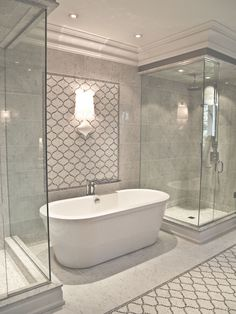 pair of glass showers flanking freestanding tub