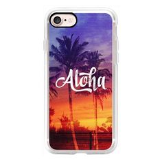 Cool 70s Retro Vintage Aloha Tropical Palm Tree Sunset Beach Surf... ($40) ❤ liked on Polyvore featuring accessories, tech accessories, iphone case, vintage iphone case, iphone cover case, apple iphone case, retro iphone case and iphone cases