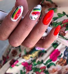 What Christmas manicure to choose for a festive mood - My Nails Cute Nails, Pretty Nails, Nail Manicure, Nail Polish, Manicure Ideas, Fruit Nail Art, Watermelon Nails, Watermelon Nail Designs, Nailart