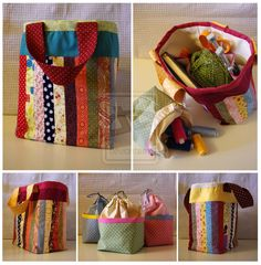 Patchwork craft bags - I like this idea for using up scraps..