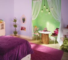 Tinker Bells Hide-Out  This? Is genius! They've taken a closet and turned it into Tinker Bell's very own hide-out by using a paint in a different color and adding curtains, subtle fairy and butterfly stencils and sparkly paint.