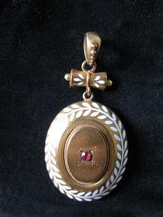 Gorgeous Antique Victorian Gold w/ White Enamel Locket with Garnet & Lovely Bale
