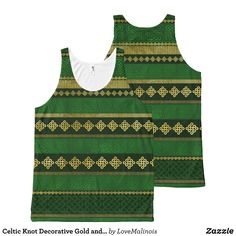 Celtic Knot Decorative Gold and Green pattern All-Over-Print Tank Top - Comfy Moisture-Wicking Sport Tank Tops By Talented Fashion & Graphic Designers - #tanktops #gym #exercise #workout #mensfashion #apparel #shopping #bargain #sale #outfit #stylish #cool #graphicdesign #trendy #fashion #design #fashiondesign #designer #fashiondesigner #style